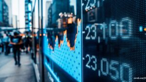 financial-stock-market-numbers-and-city-light-reflection-picture-id942696884